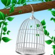 Bird cage on a tree branch — Stock Vector