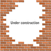Text frame in broken brick wall — Stock Vector
