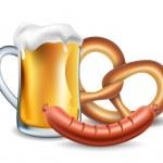Oktoberfest food, beer, sausage and pretzel — Stock Vector