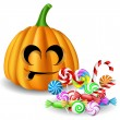 Halloween pumpkin head with candy set — Stock Vector