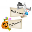 Halloween labels with cartoon pumpkin head and ghost — Stock Vector #32534701