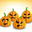 Pumpkin head set with different expressions — Stock Vector