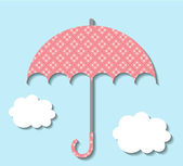 Paper umbrella with clouds — Stock Vector
