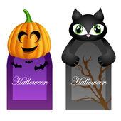 Halloween cards with pumpkin and cat cartoon character — Stock Vector