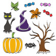 Abstract Halloween symbol set — Stock Vector