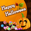 Halloween card with pumpkin and candies — Stock Vector