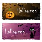 Halloween-kaart instellen met kat en pompoen — Stockvector  #33338995