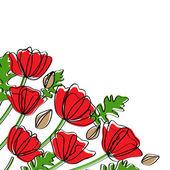 Abstract poppy corner decoration — Stock Vector