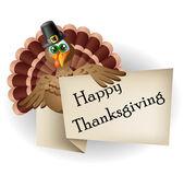 Cartoon turkey with thanksgiving label — Stock Vector