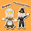 Stock Vector: Cartoon pilgrim stickers for Thanksgiving