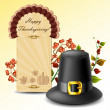 Thanksgiving card and hat with autumn plants — Vettoriali Stock