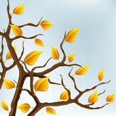 Otoño rama con hojas amarillas — Vector de stock