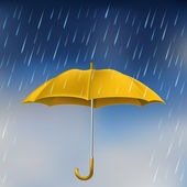 Yellow umbrella in rain — Stock Vector