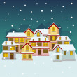 Old winter town — Stock Vector