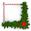 Christmas frame with holly branch and candy — Stockvectorbeeld