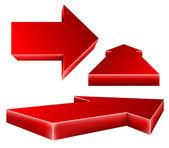 3d red arrow set — Stock Vector