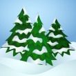 Pine trees covered with snow — Stock Vector