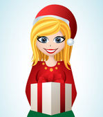 Cartoon girl with Santa hat and gift — Vector de stock