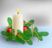 Vánoční dekorace s svíčku a borovic větvemi — Stock vektor