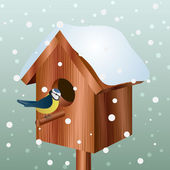 Winter bird house with little bird — Stock Vector