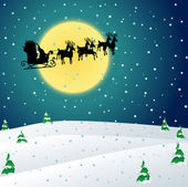 Winter night with Santa sleigh — Stockvector