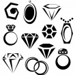 Jewelry icon set — Stock Vector