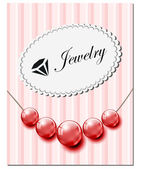 Jewelry card with red glass pearls — Stock Vector