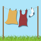 Hanged clothes on rope — Stock Vector