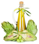 Alcachofas y aceite de oliva — Foto de Stock