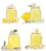 Conjunto de mel, casca seca, limão e flor de limão. — Foto Stock