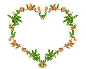 Corazón de las hojas y flores de granado — Foto de Stock