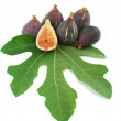 Ripe purple fig fruits  and leaf — Stock Photo
