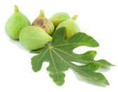 Ripe fig fruits and leaf — Stock Photo