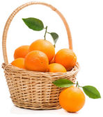Basket full of ripe sweet oranges. — Stock Photo