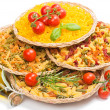 Mix of pasta in wattled trays — Stock Photo