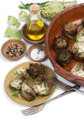 Whole and half artichokes cooked  — Stock Photo