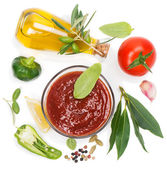 Olive oil, vegetables and spices  — Stock Photo