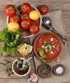Tomato gazpacho soup — Stock Photo