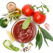 Постер, плакат: View from above of bowl of tomato sauce with fresh ingredients