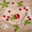 View from above of wicker basket with raspberries — Stock Photo #49958893