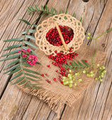 Fresh peppercorn and dried pink pepper scattered from basket — Stock Photo