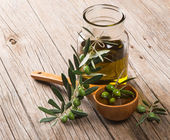 Jar with olive oil and branch of green olives — Stock Photo