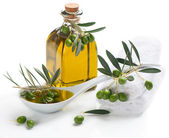 Spa set with olive oil an twig — Stock Photo