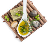 View from above of spa setting of olive — Stock Photo