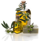 Olive soap with oil — Stock Photo