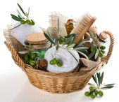 Bath accessories of olive — Stock Photo