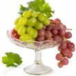 Fresh rose and green grapes with leaf — Stock Photo #51588057