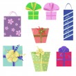 Set of icons with gift wrap — Stock Vector