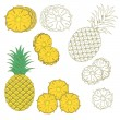Set of isolated pineapples — Stock Vector