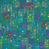 Bezešvé vzor náčrtu domy — Stock vektor